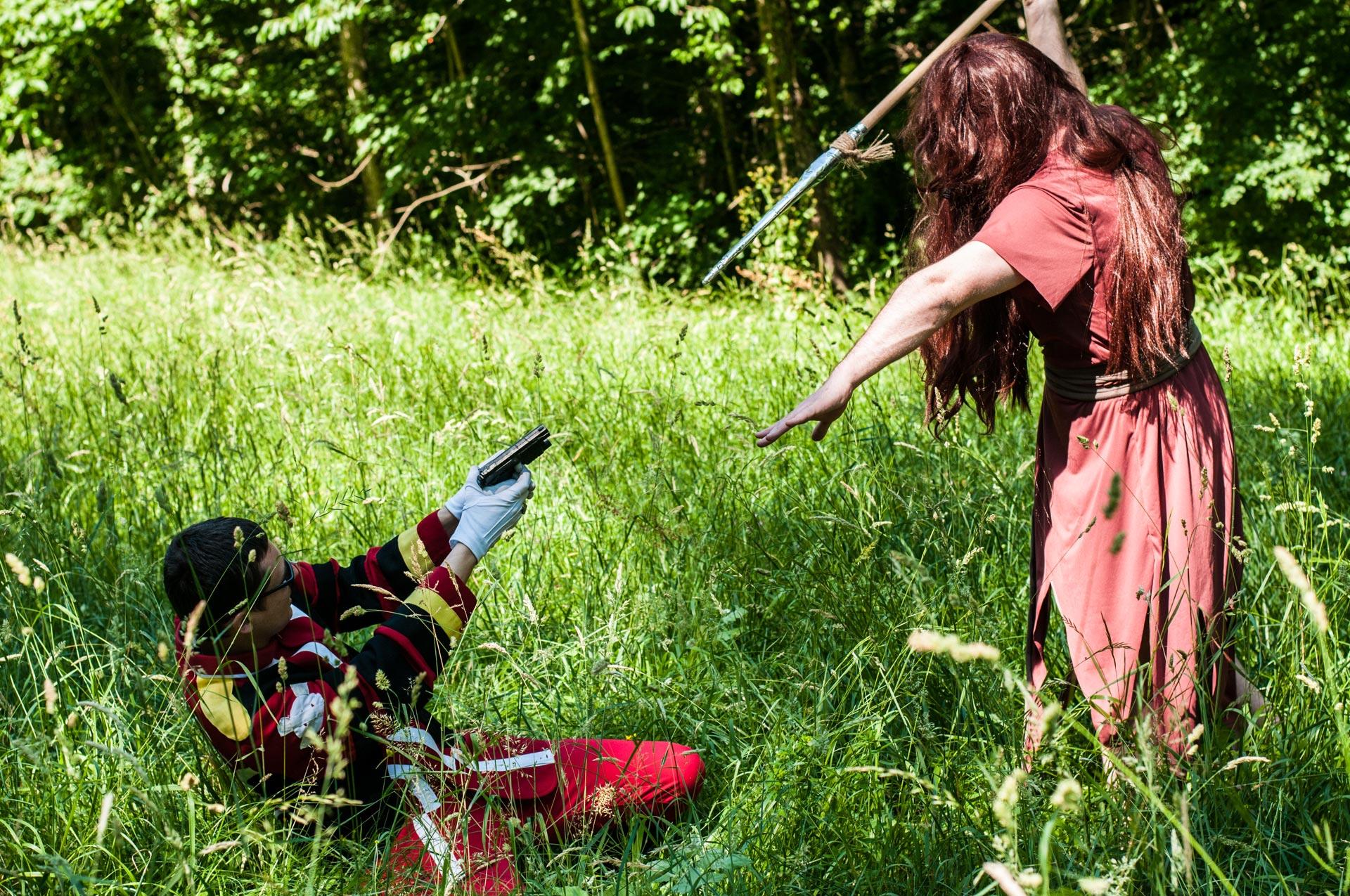 "Tsukasa VS Templier au shooting cosplay avec ""Les voyageurs"""